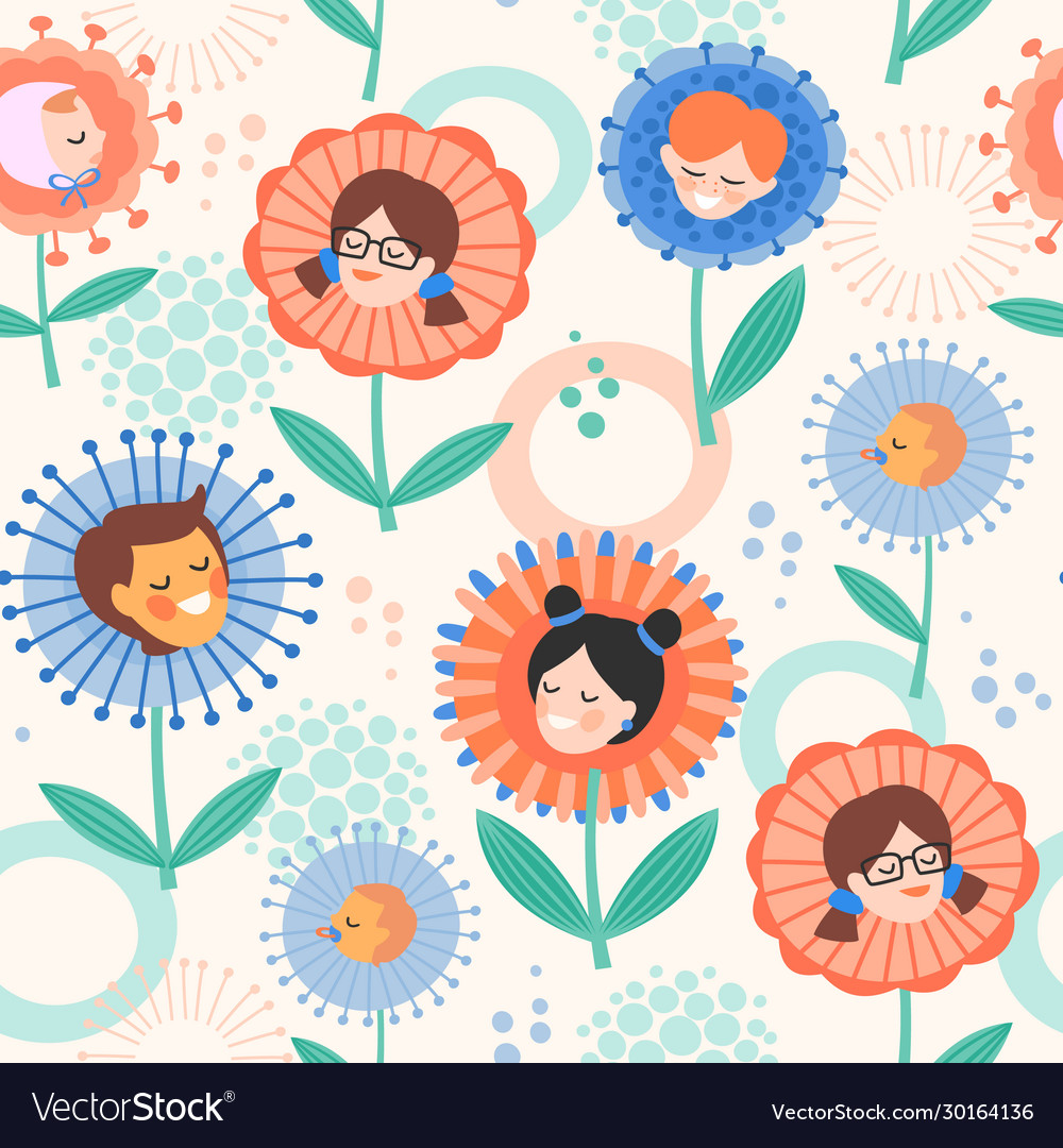 Seamless pattern with children in flowers design