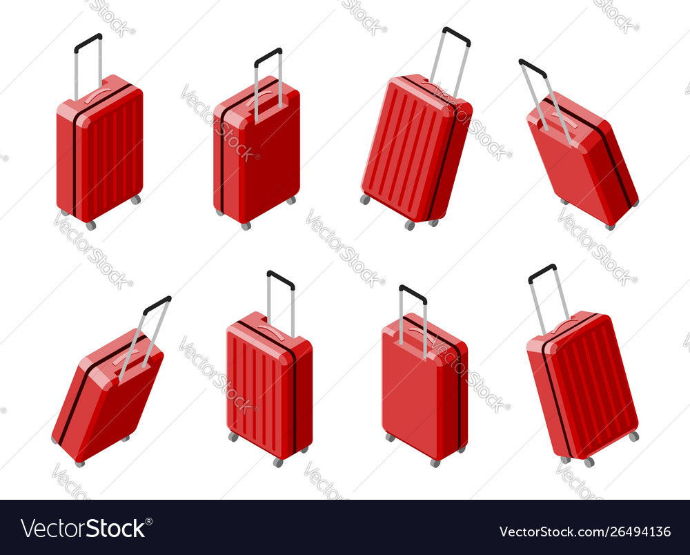 Set isometric 3d view business travel hand bag