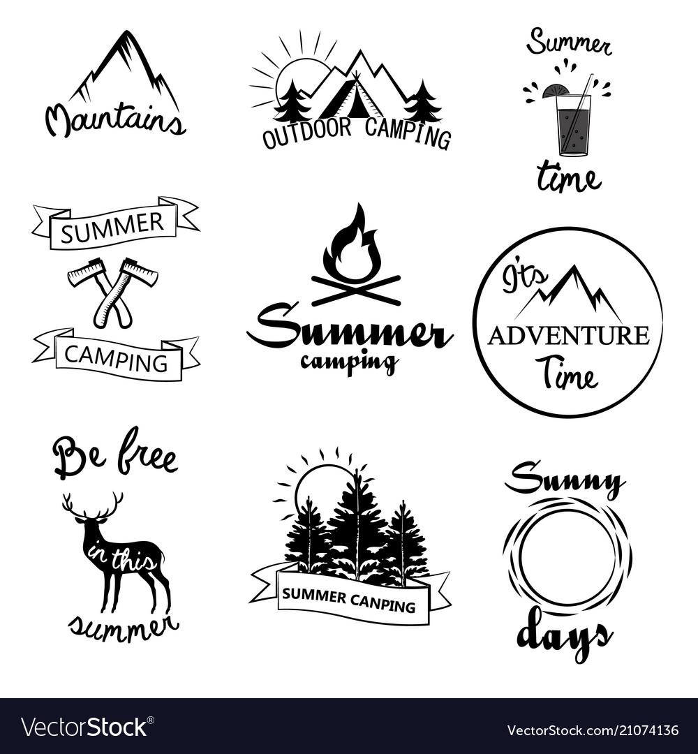 Set of summer emblems and design elements