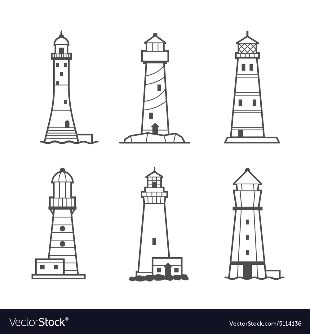 Simple icon or logo set of lighthouses