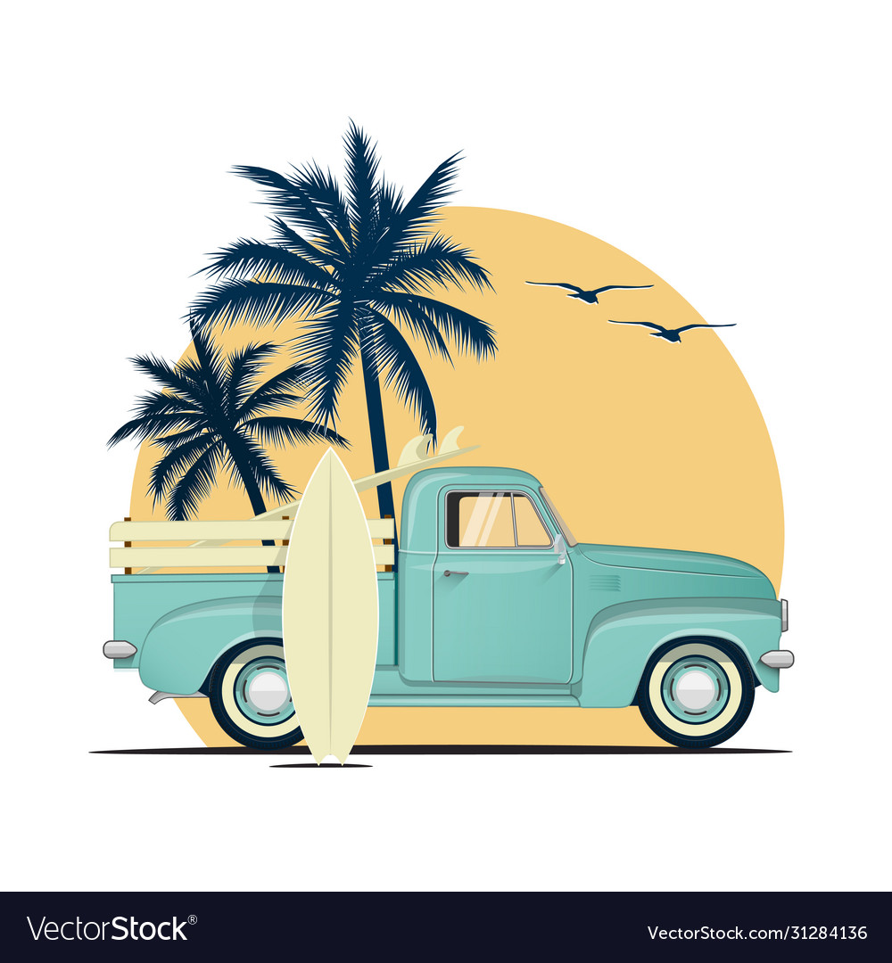 Surfing retro pick up truck with surf boards on