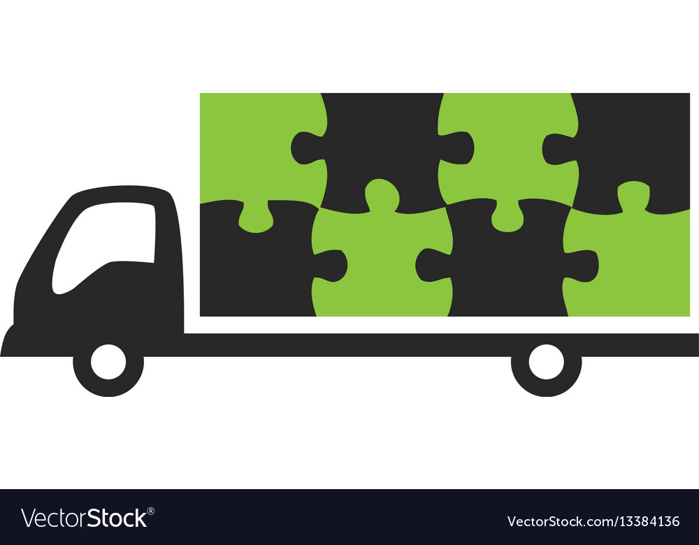 Truck and puzzle logo vector image