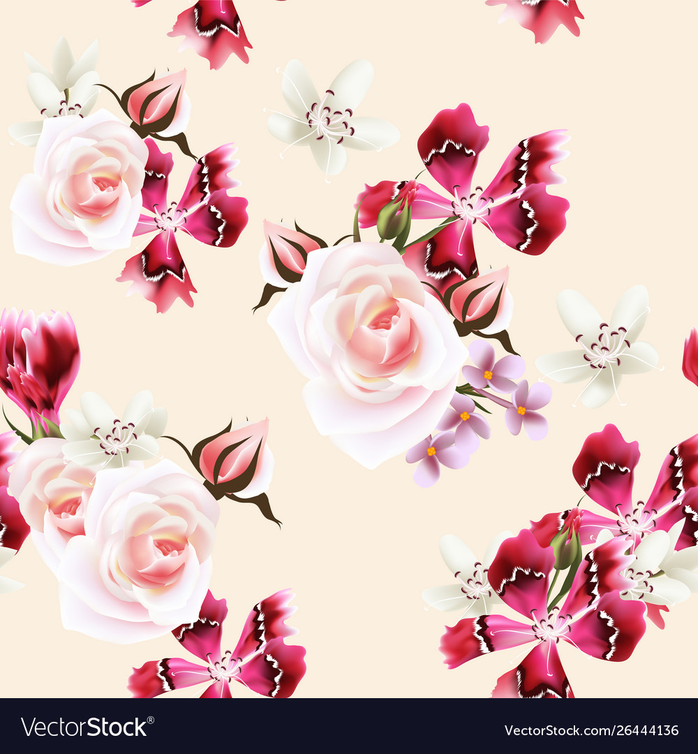 Wallpaper Pattern With Roses And Pink Flowers Vector Image