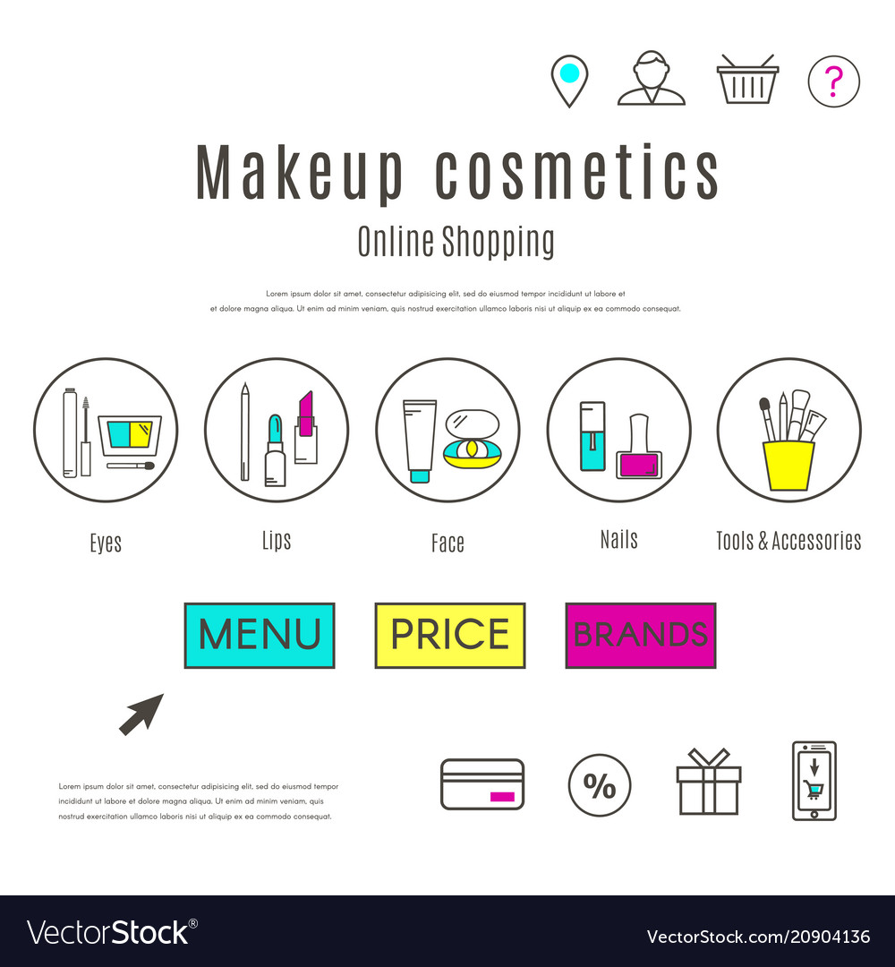 Web design template of makeup and cosmetics online