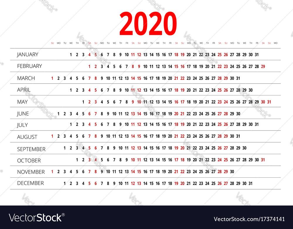 2020 Calendar Starting Monday 2020 calendar print template week starts sunday Vector Image