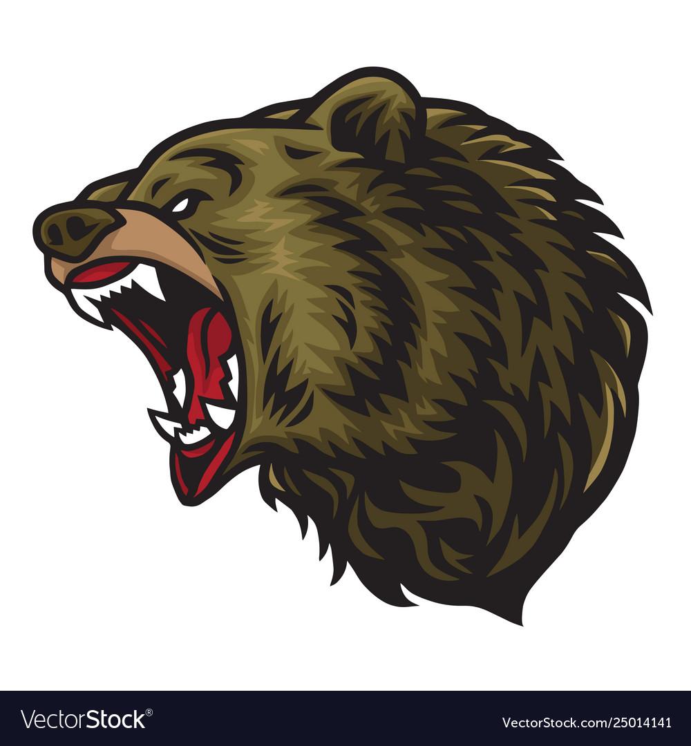 Angry bear roaring logo mascot