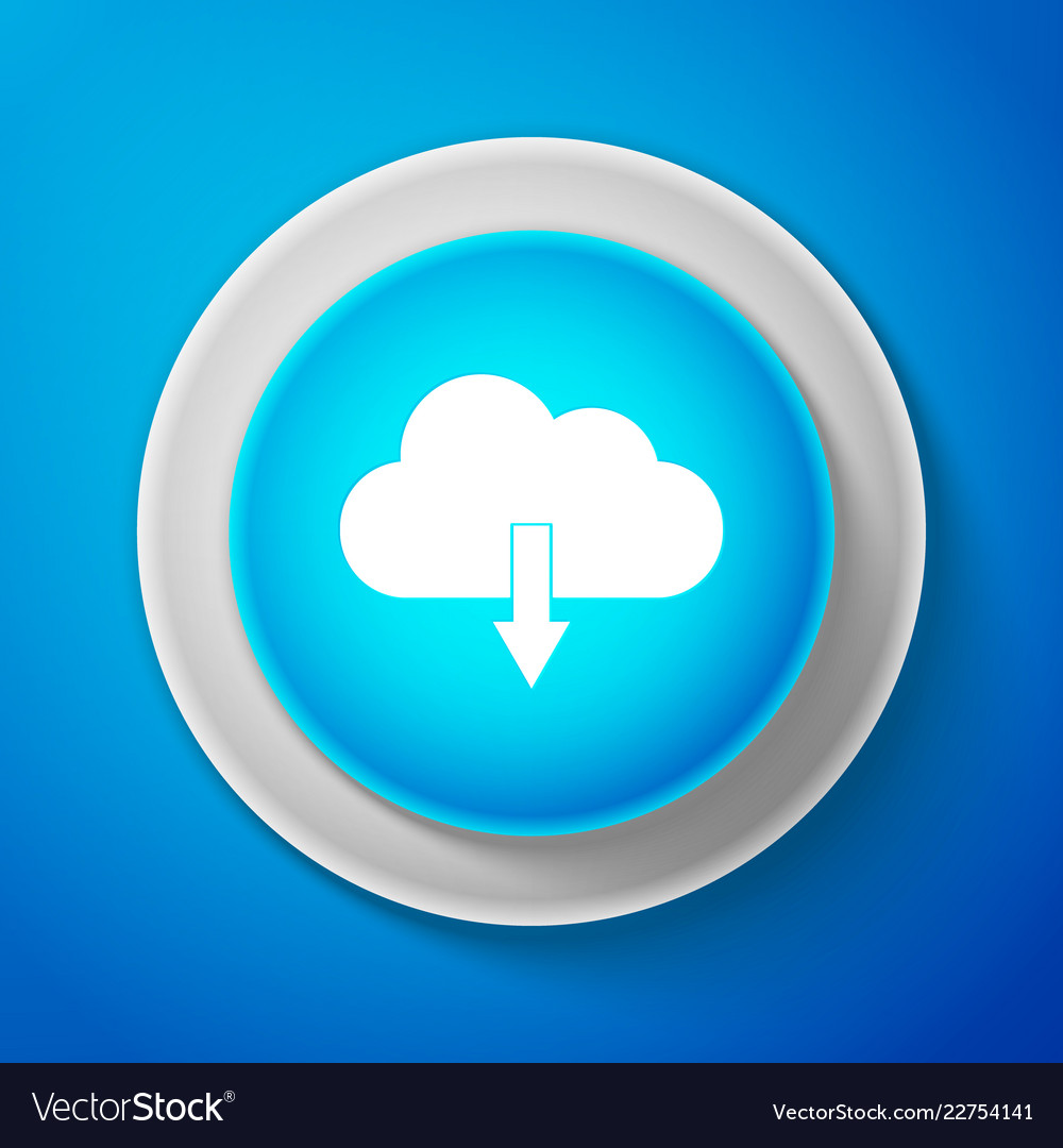 Cloud download icon isolated on blue background