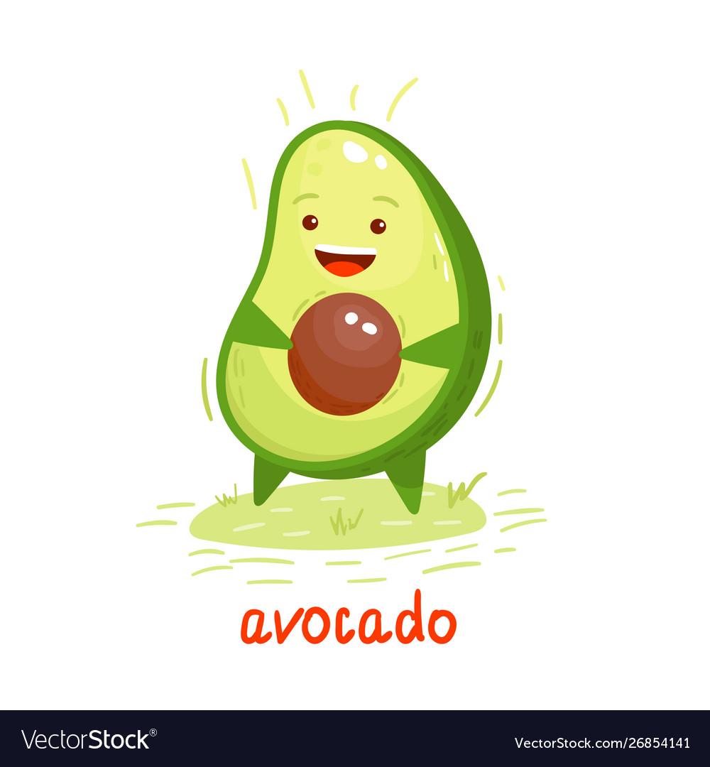 Cute smiling avocado