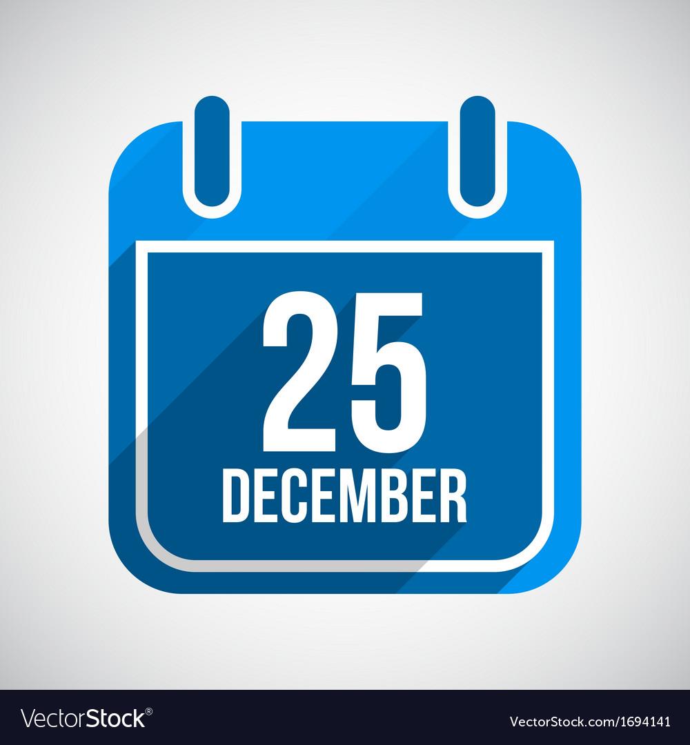 December 25 Calendar Icon Flat Icon With Long vector image