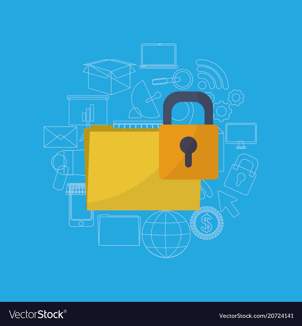 Folder locked system vector image