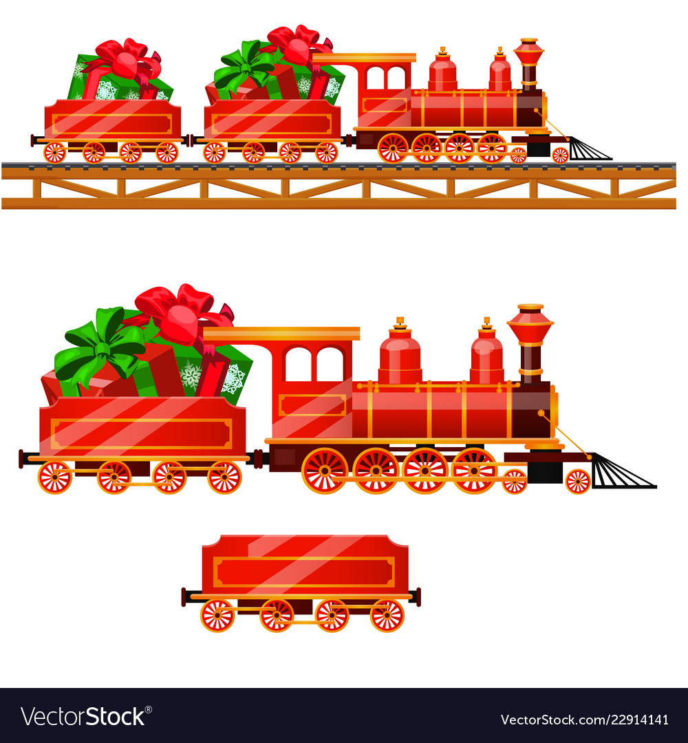 Little red train with wagons by rail carries boxes