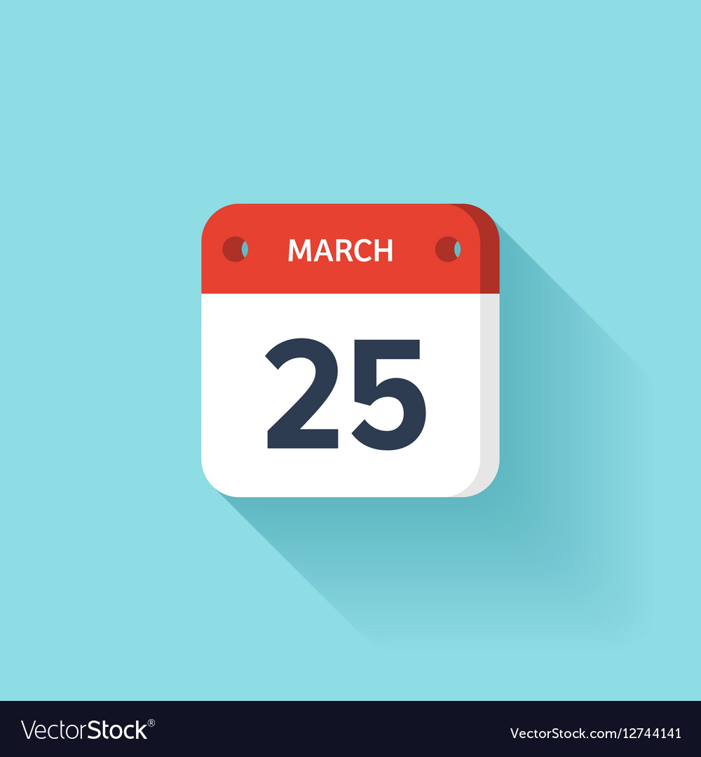 March 25 Isometric Calendar Icon With Shadow