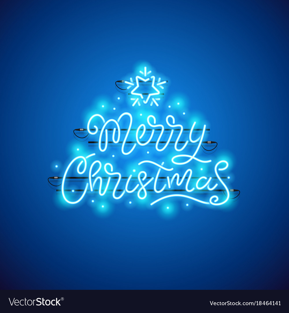 Merry christmas blue neon sign