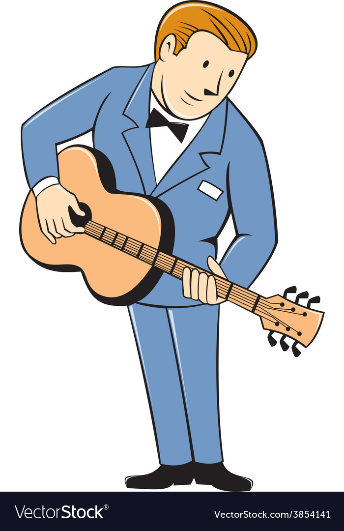 Musician Guitarist Standing Guitar Cartoon