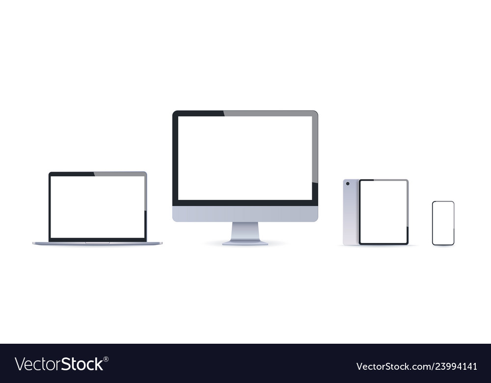 Realistic electronic devices mockup set laptop