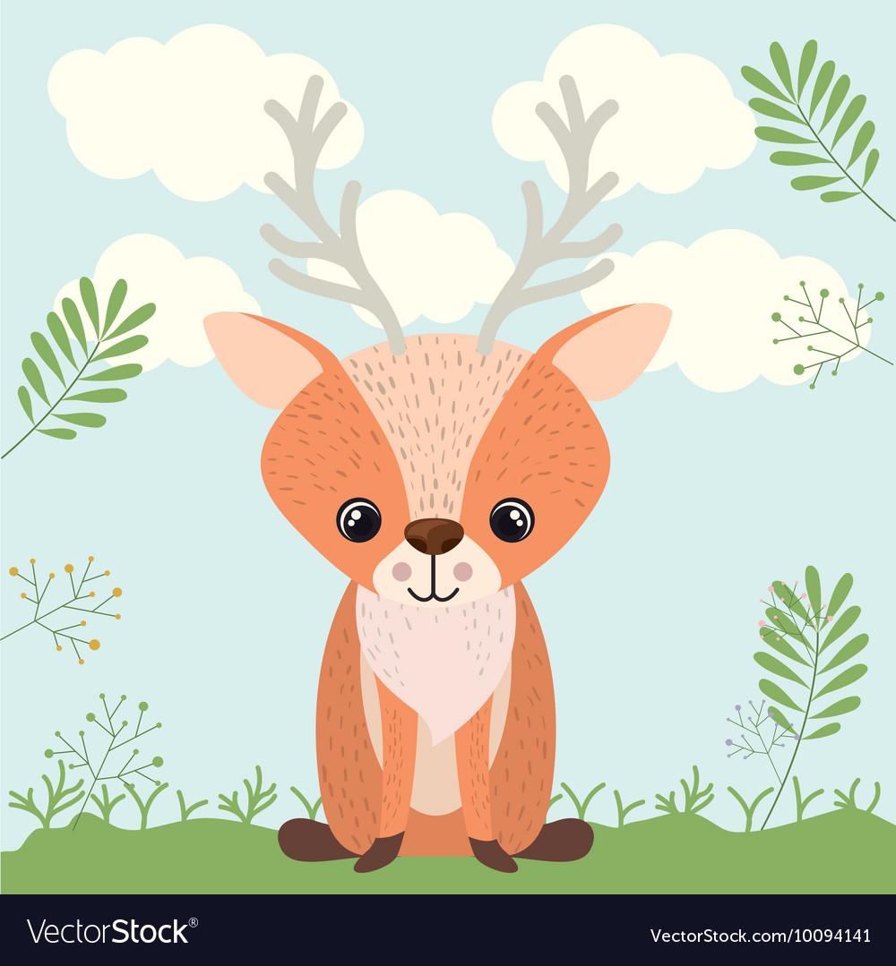 Reindeer cute woodland icon