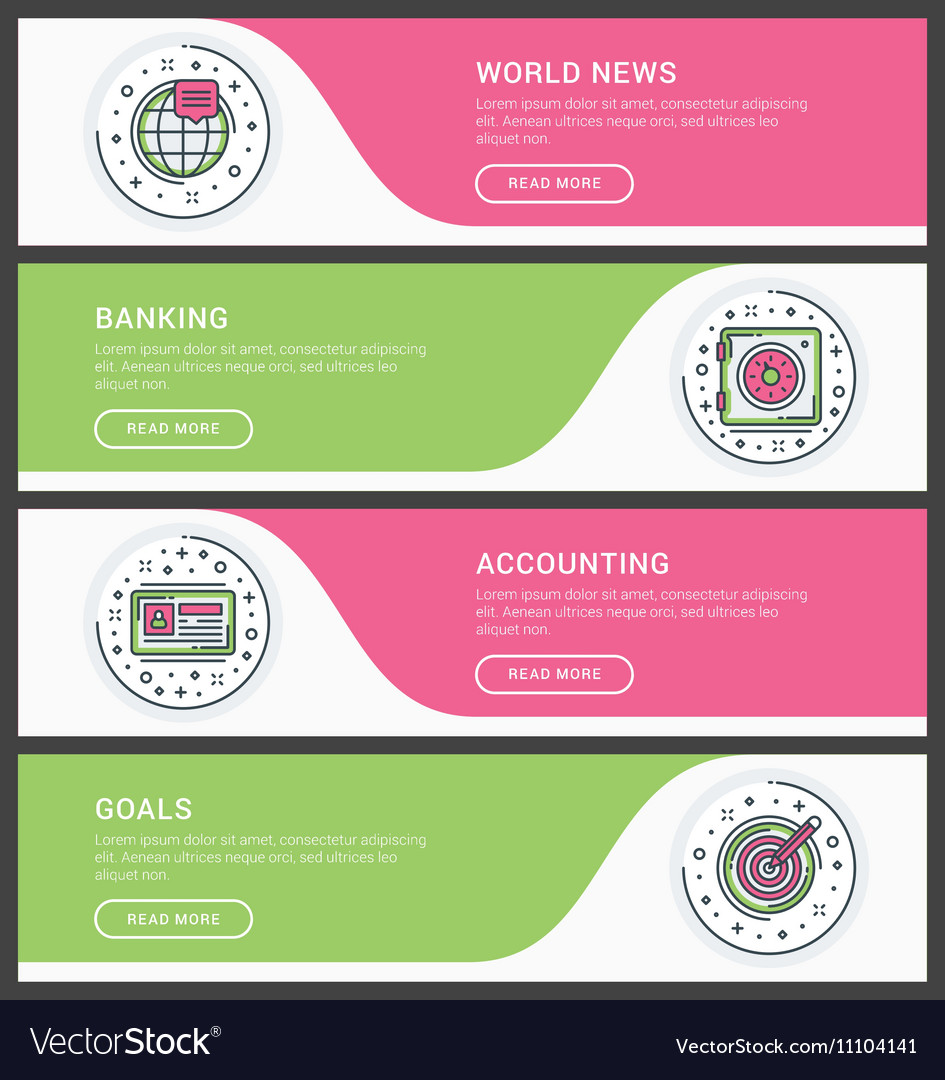 Set Of Flat Line Business Website Banner Templates