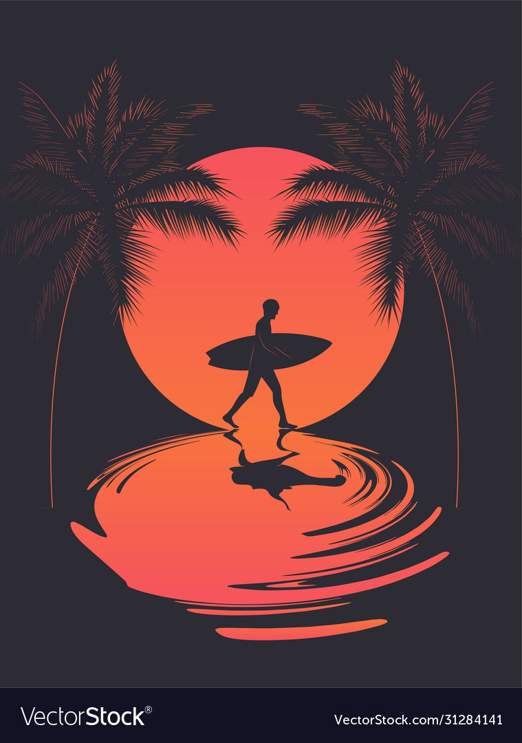 Summer poster with walking surfer silhouette at