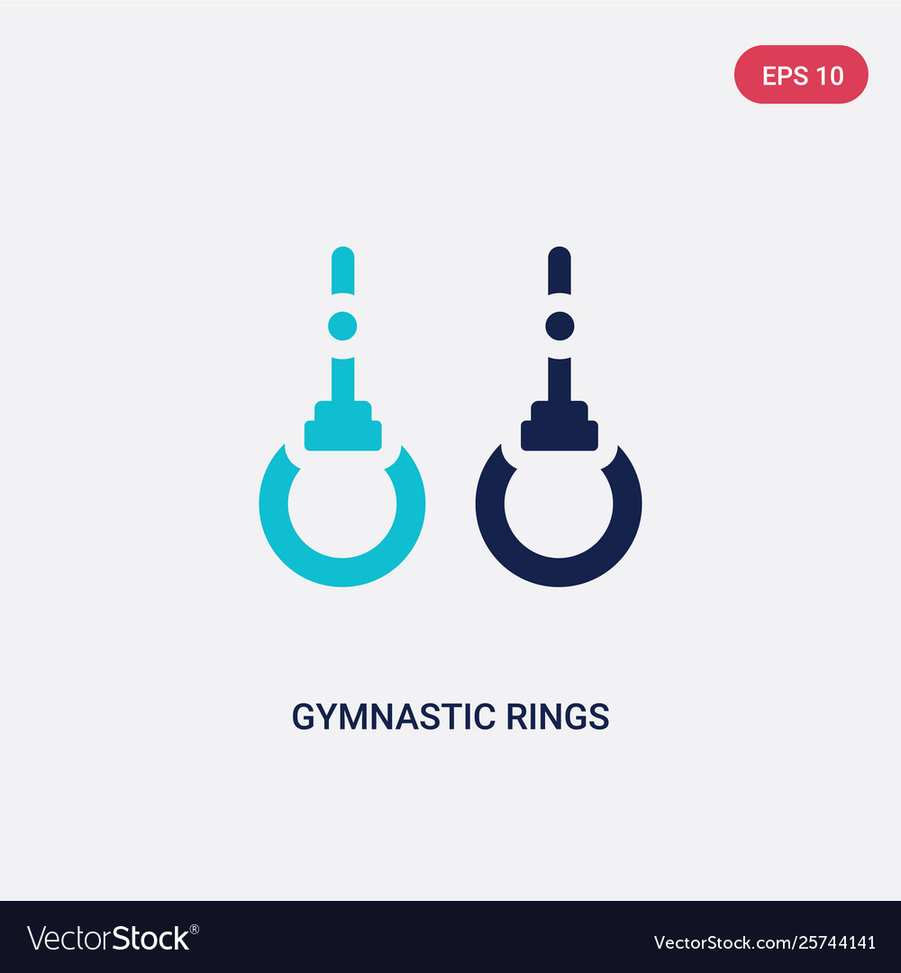 Two color gymnastic rings icon from gym and