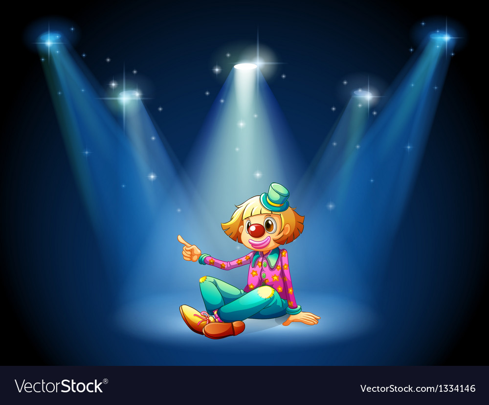 A stage with a female clown sitting at the center vector image
