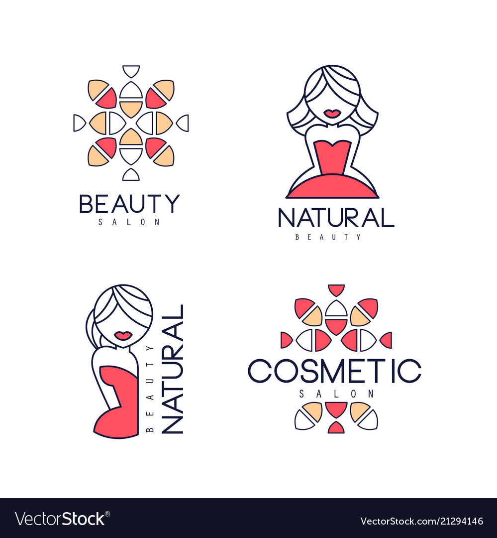 Abstract outline emblems for beauty salon
