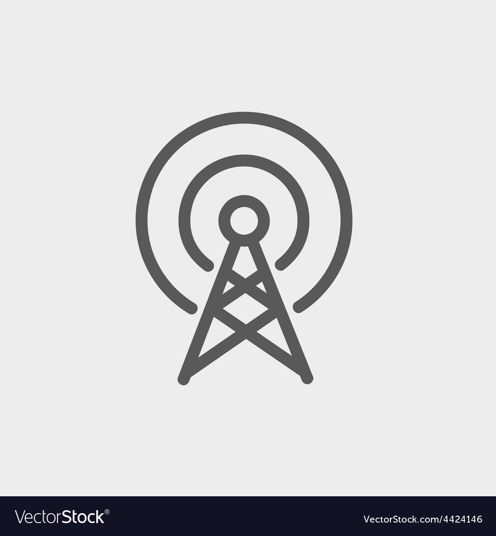 Antenna thin line icon vector image