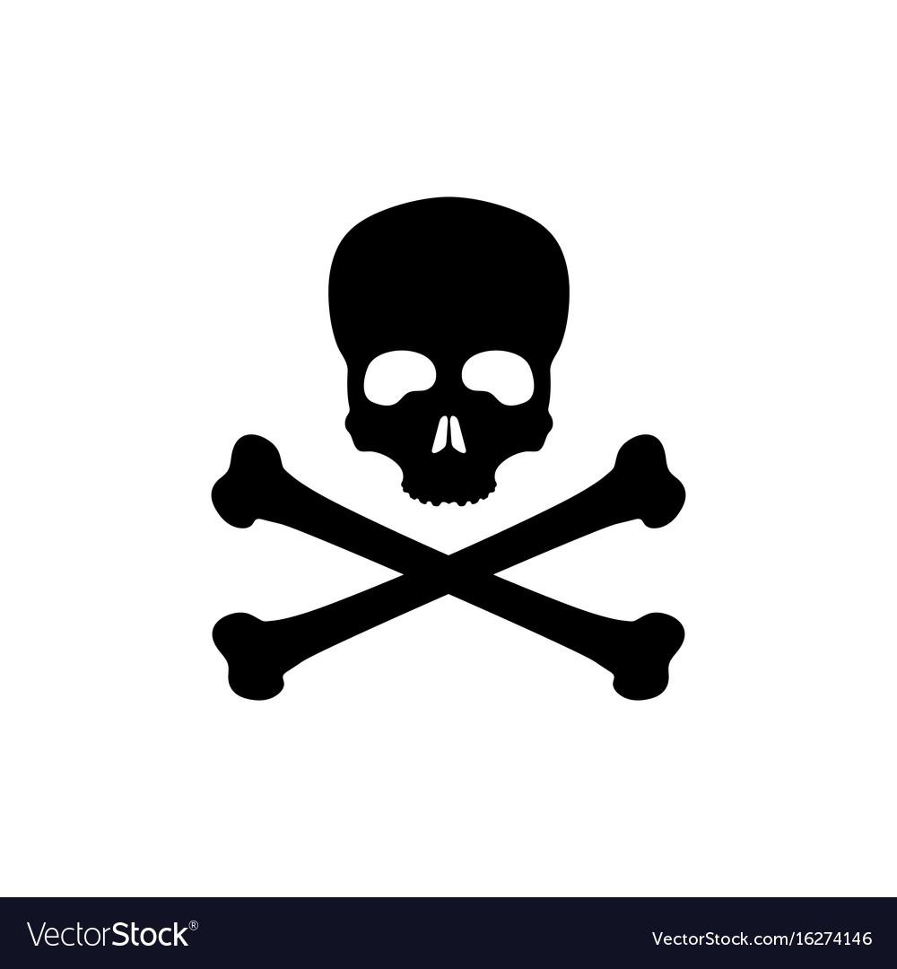 Black silhouette of skull and bones vector image