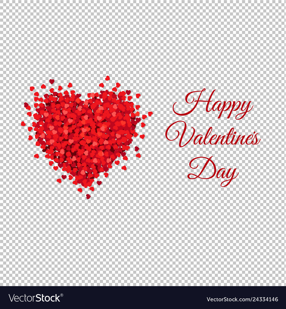 Card with red heart transparent background