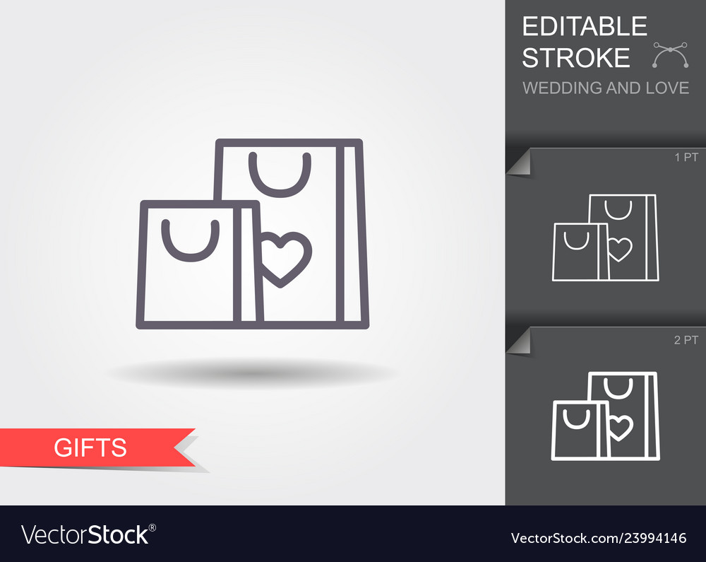 Gift bags with heart line icon with shadow and