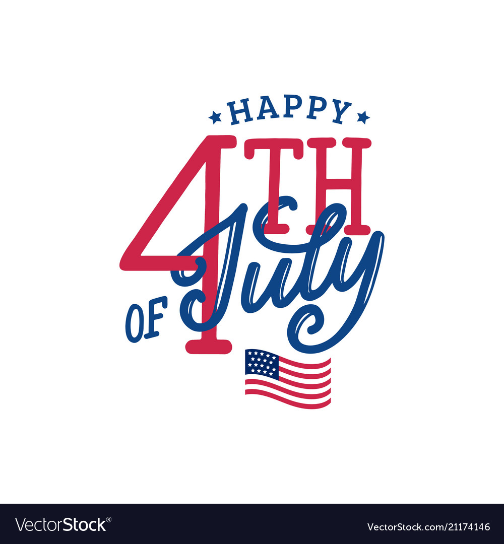 Happy fourth of july hand lettering