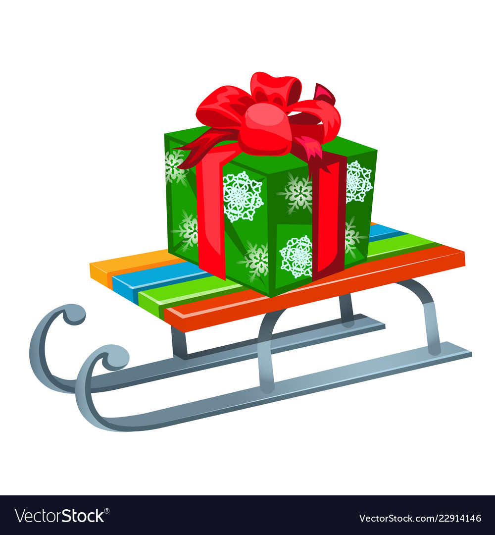Iron sleigh with festive gift box isolated on