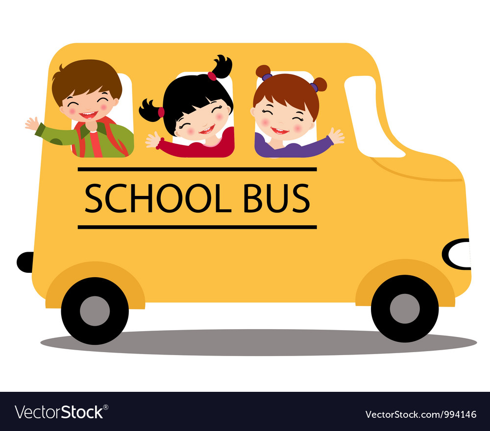 kids in school bus royalty free vector image vectorstock rh vectorstock com school bus vector ai school bus vector graphic