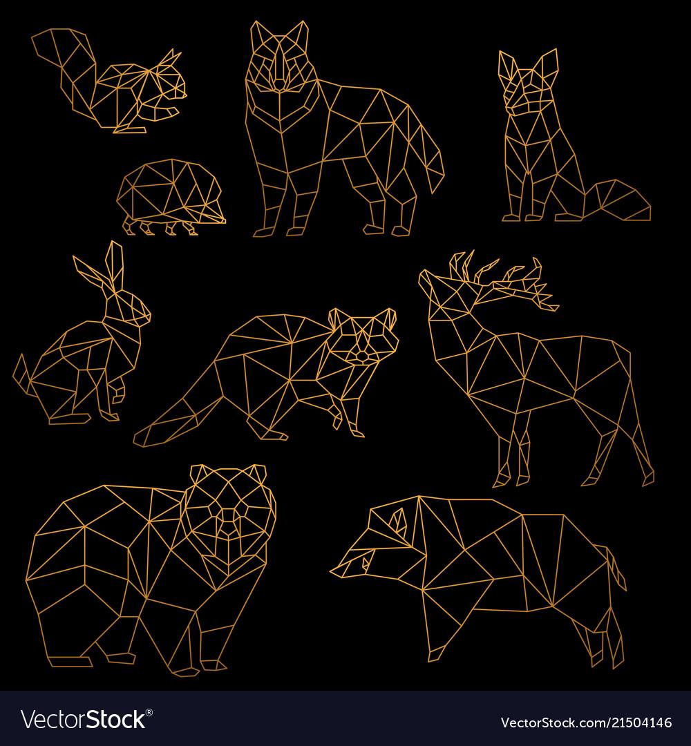 Low poly luxury golden line animals set origami