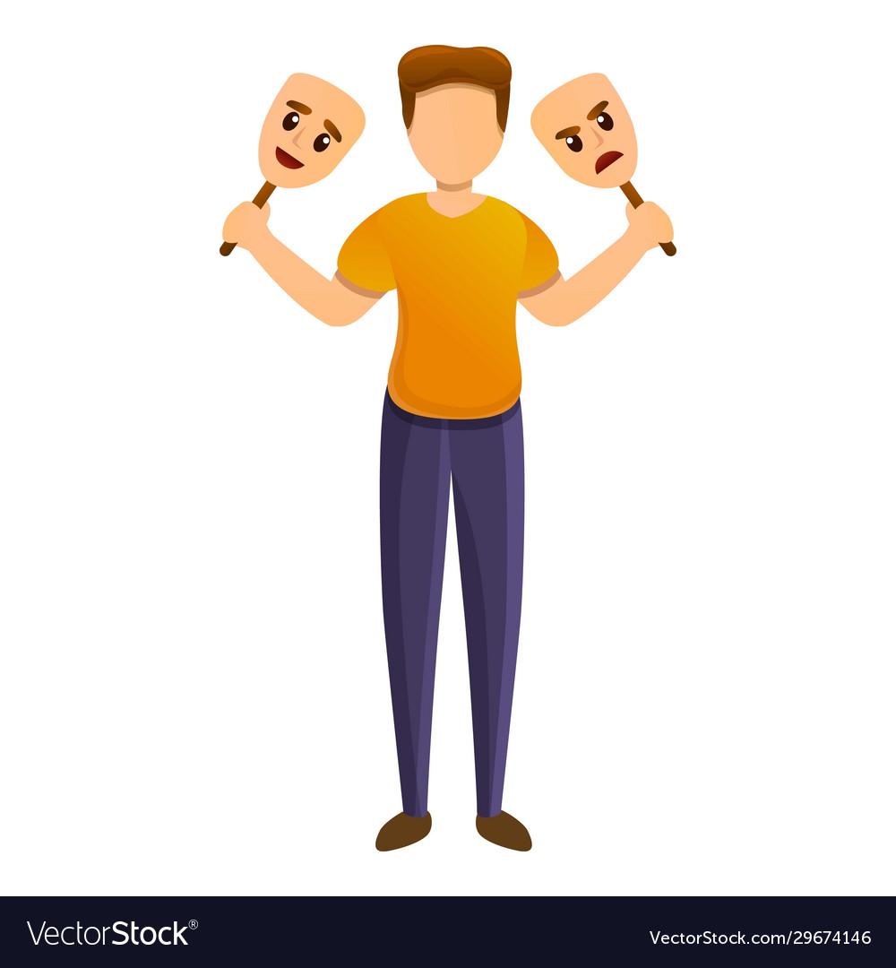 Mental Bipolar Disorder Icon Cartoon Style Vector Image