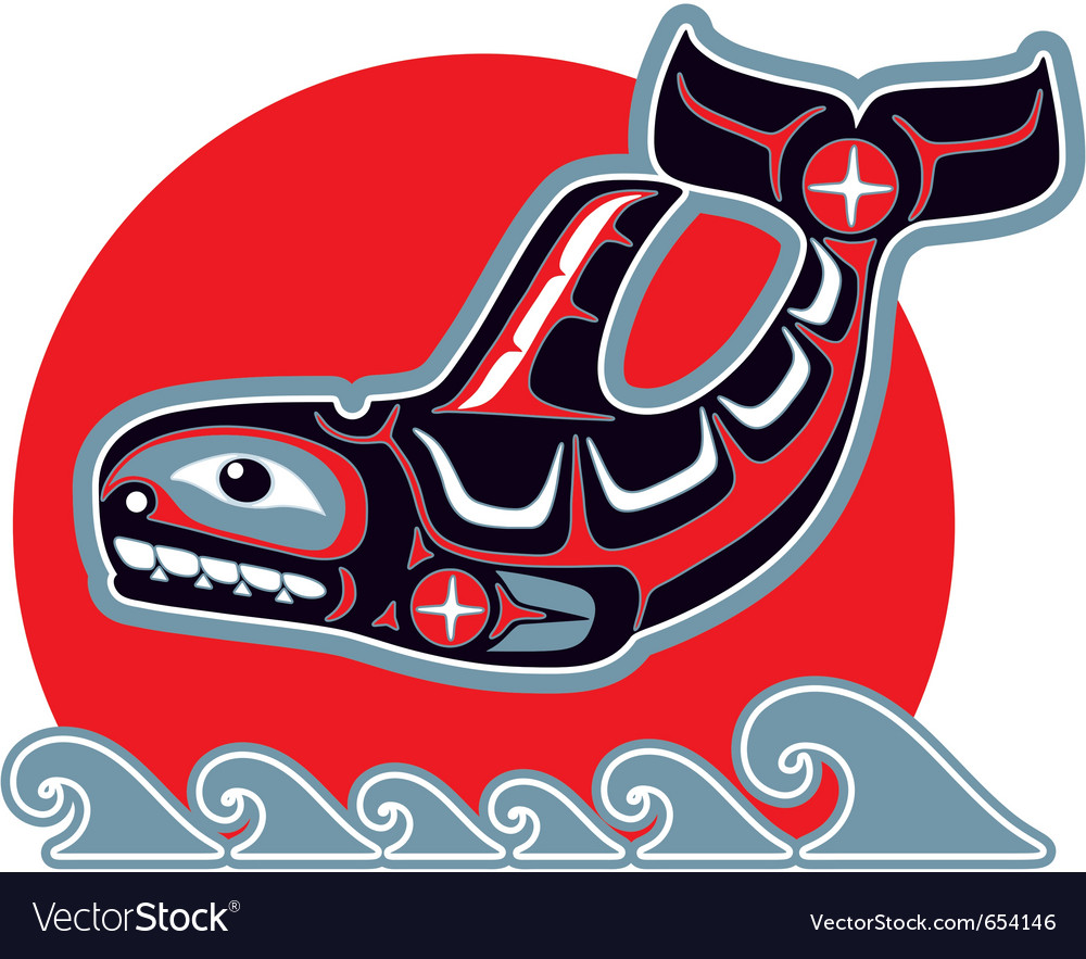 Orca - killer whale - in native art style