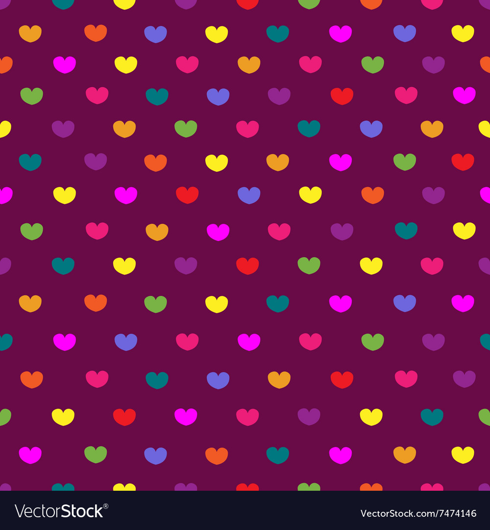 Purple colored hearts textile seamless pattern