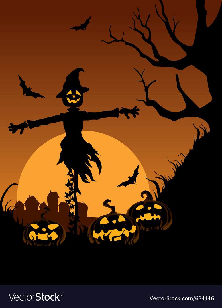 Scarecrow In Halloween Night Vector Image