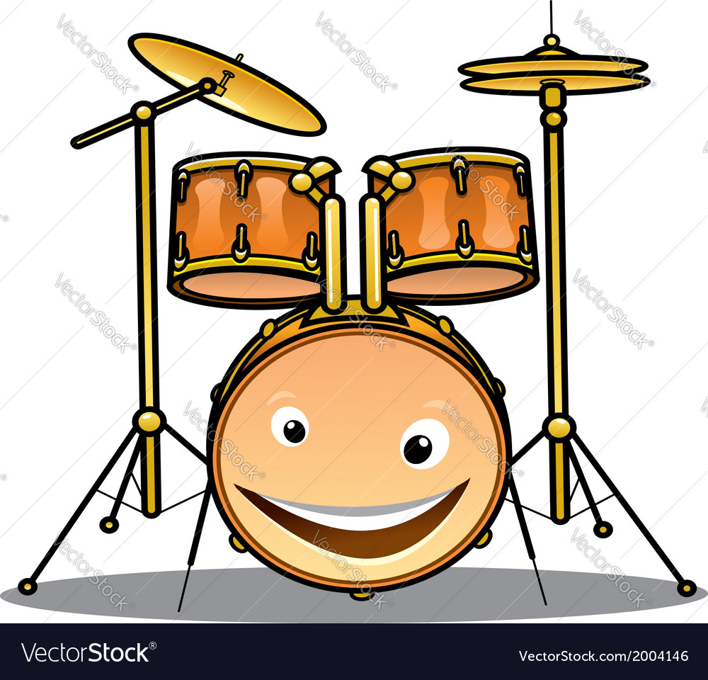 Set of drums and cymbals for a band