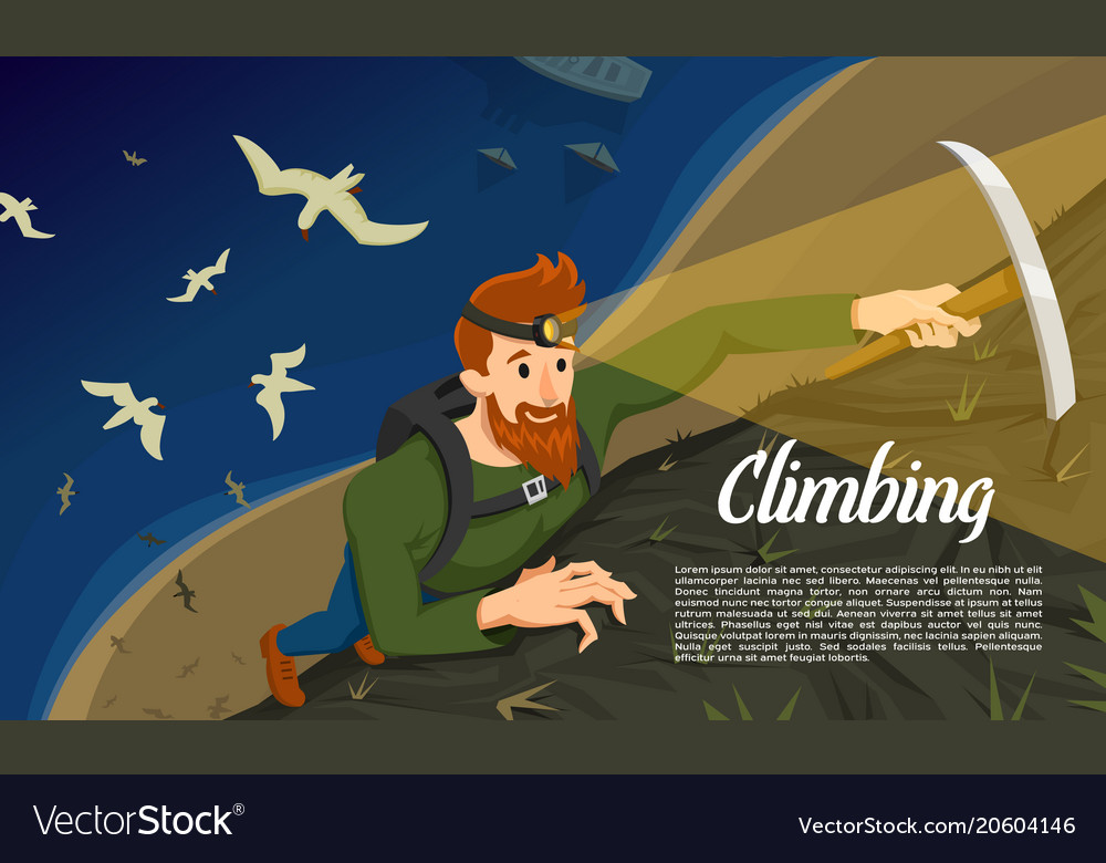 Young bearded hipster climber with ice axe