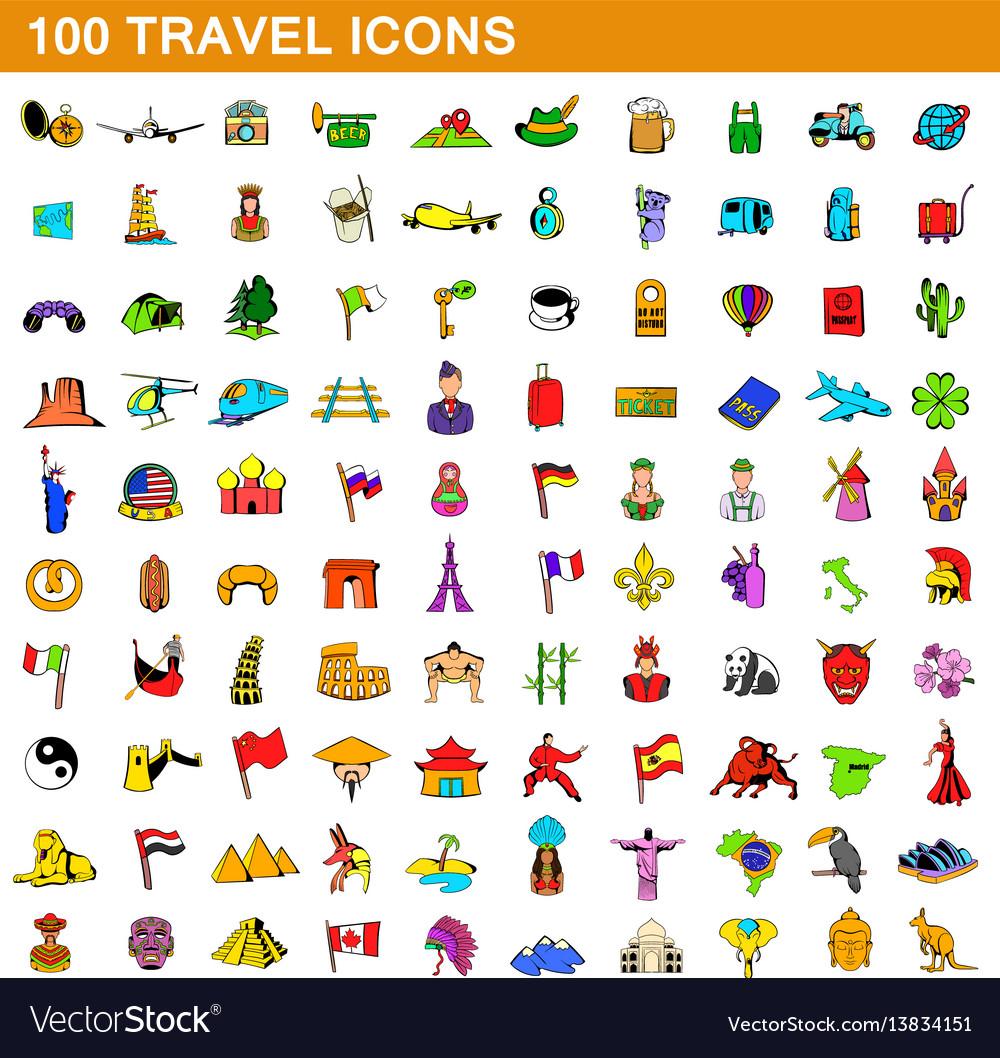 100 travel icons set cartoon style