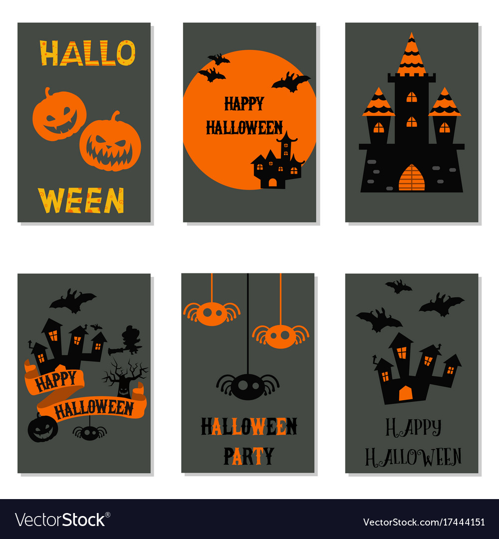 collection of cute halloween cards collection of vector image