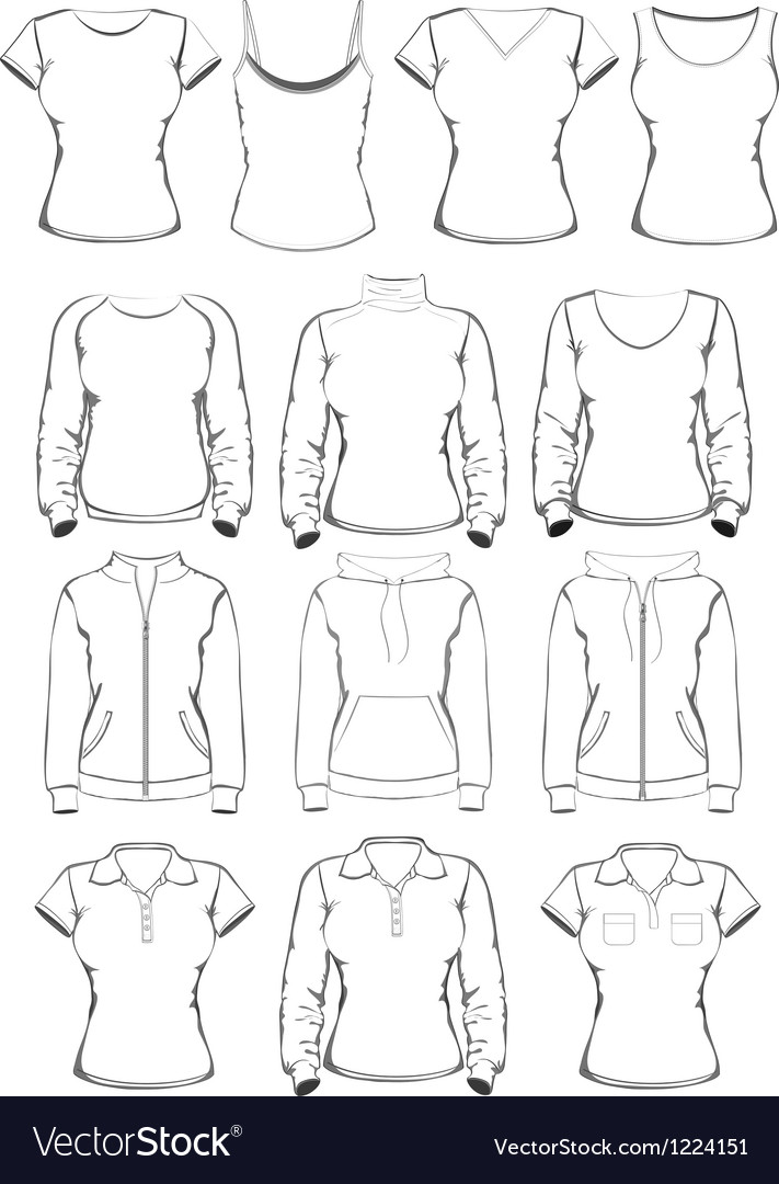 Collection women clothes outline templates