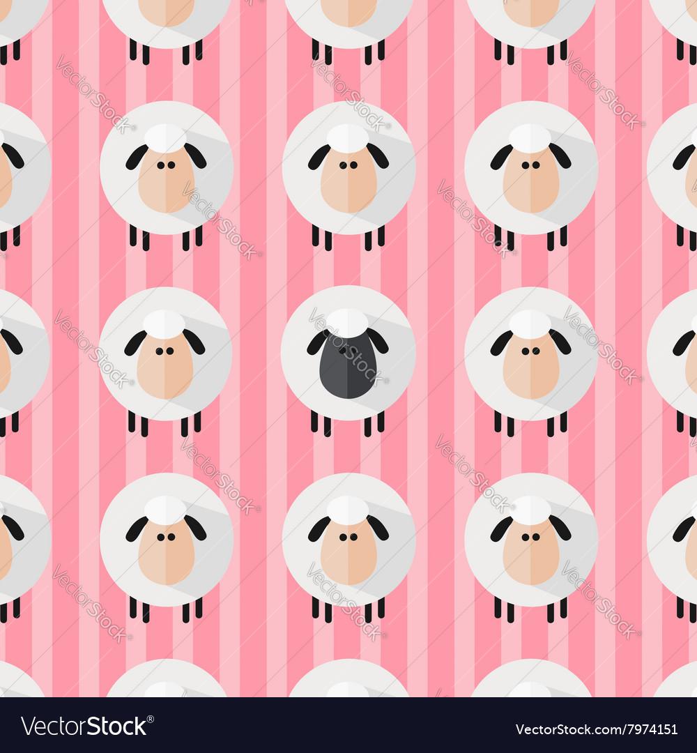 Cute Pink Sheep Wallpaper Vector Image