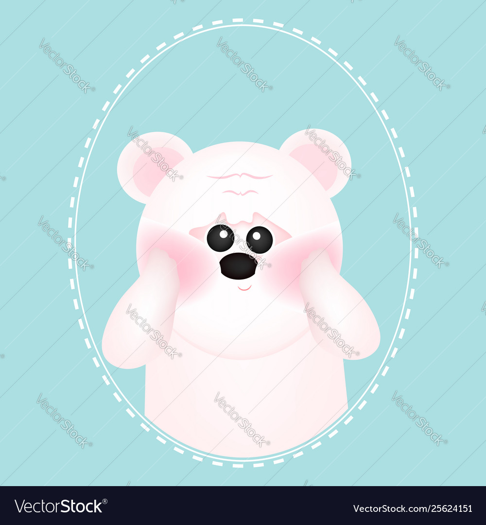 Cute white bear with red cheeks on blue