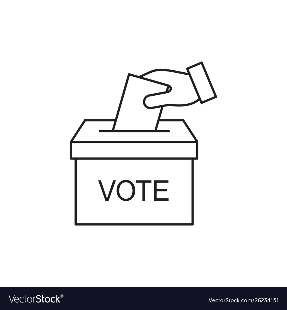 Hand voting ballot box icon election vote