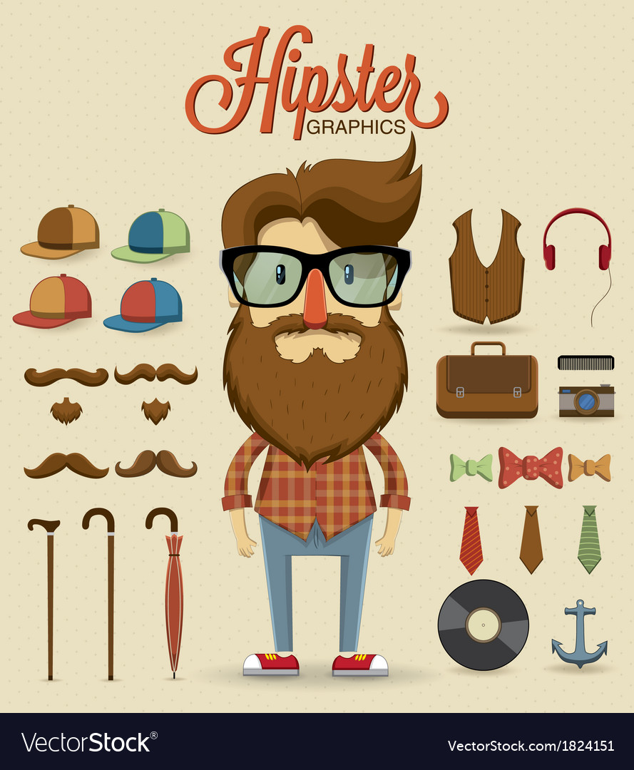 Hipster character design with elements