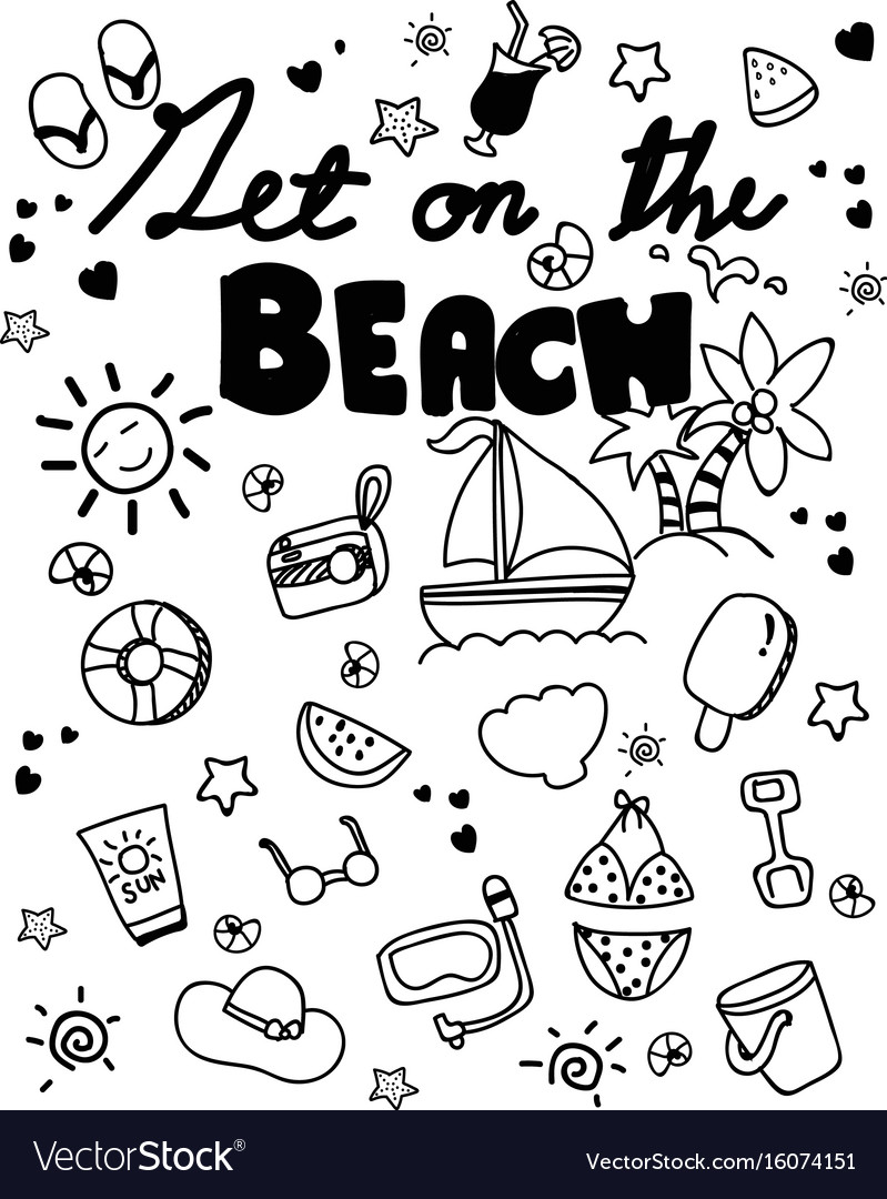 Icon set summer beach holidays travel vacation