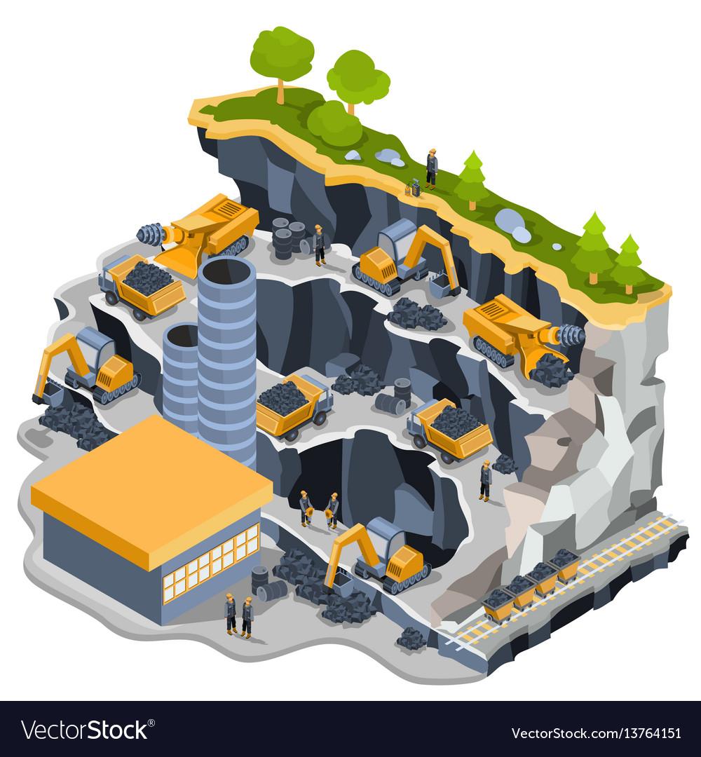 Isometric coal mining quarry