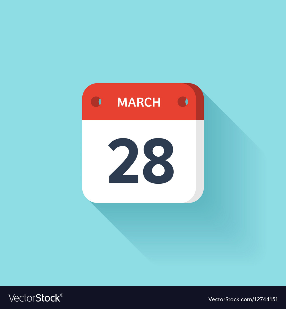 March 28 Isometric Calendar Icon With Shadow