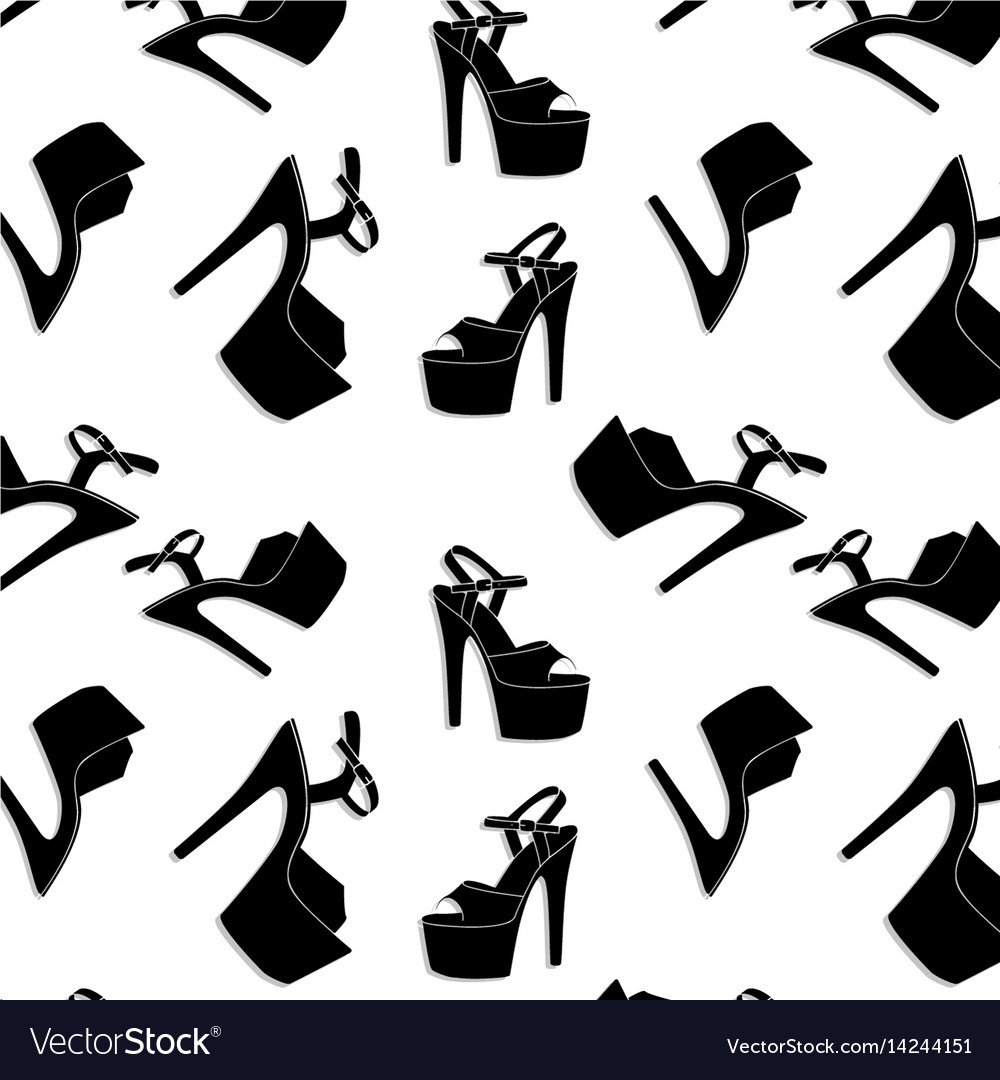 Pole dance sexy shoes high heels pattern vector image